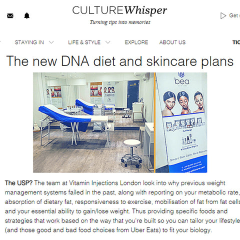 Featured in Culture Whisper UK - The new DNA diet and skincare plans
