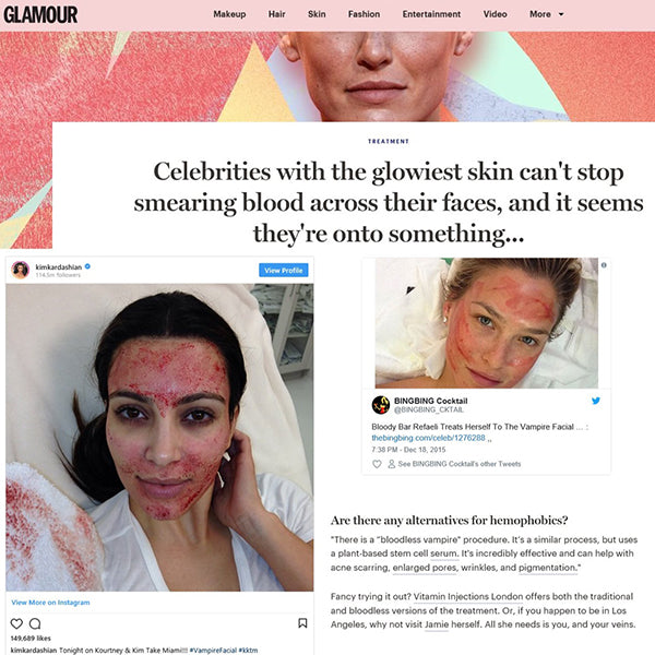 Featured in Glamour Magazine UK - Celebrities with the glowiest skin can't stop smearing blood across their faces, and it seems they're onto something...