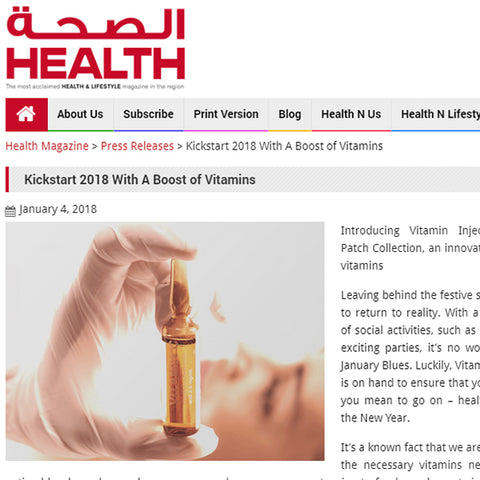 FEATURED IN HEALTH MAGAZINE (UAE) - KICKSTART 2018 WITH A BOOST OF VITAMINS