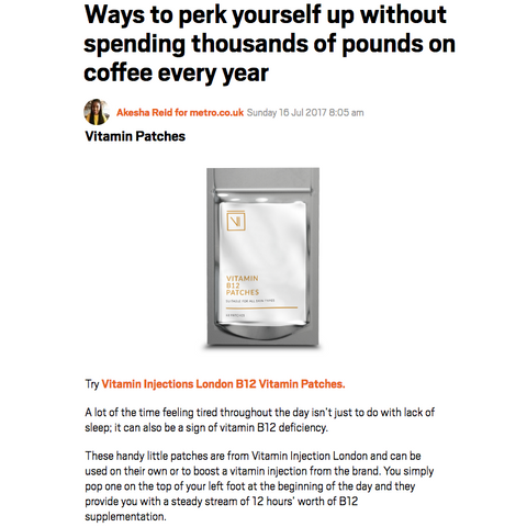 FEATURED IN METRO – PERK YOURSELF UP WITH B12 VITAMIN PATCHES!