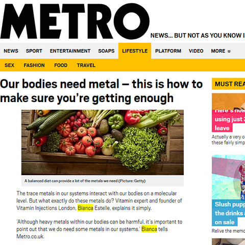 Featured In Metro UK - Our bodies need metal – this is how to make sure you're getting enough