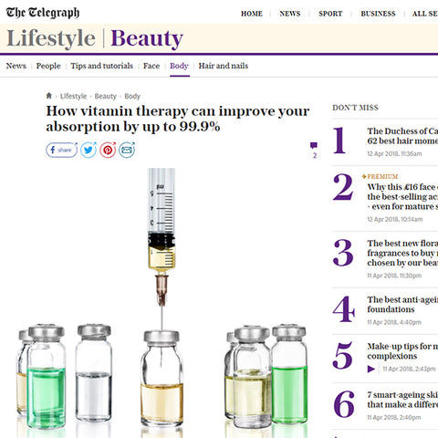 FEATURED IN TELEGRAPH UK - How vitamin therapy can improve your absorption by up to 99.9%