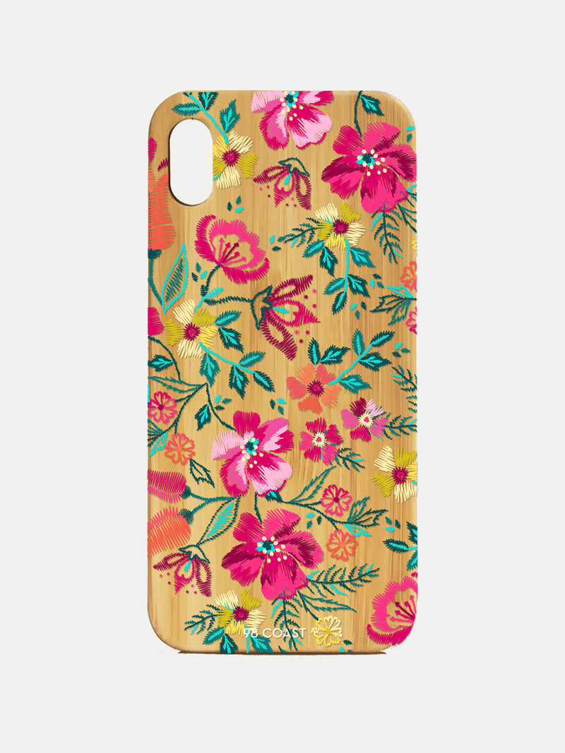 EMBROIDERED FLOWERS BAMBOO IPHONE CASE