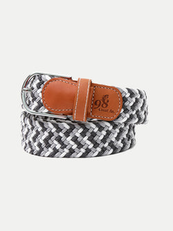 GRAY / WHITE BRAIDED BELT