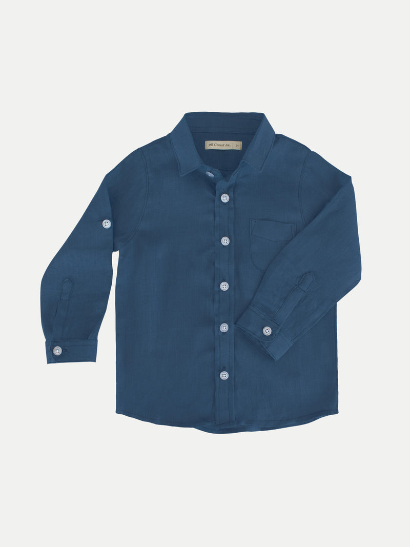 NAVY BOY LINEN SHIRT