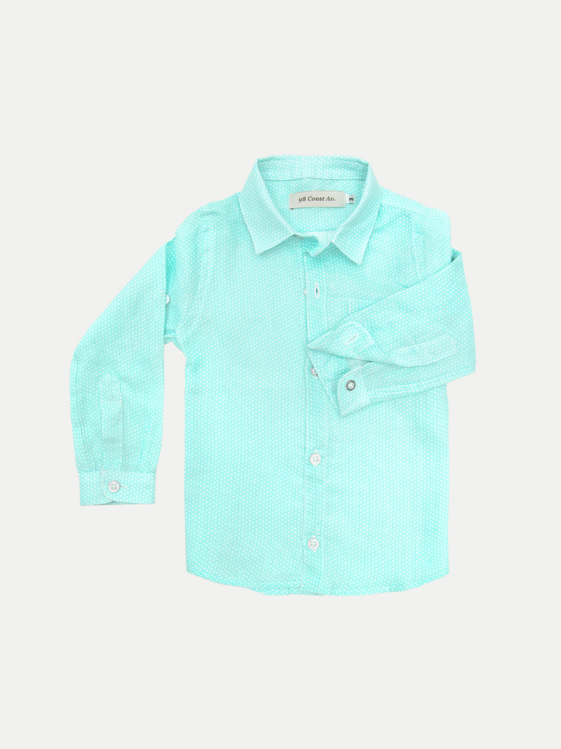 AQUA DOTS BOY LINEN SHIRT