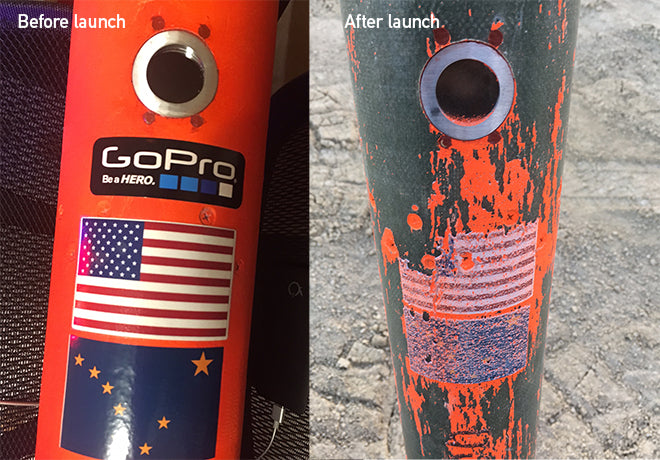 Rocket before launch and after