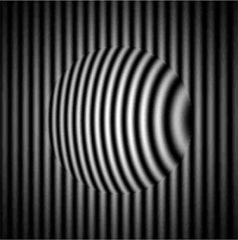 An optic placed in front of a reference transmission flat demonstrates the distortion of the fringe pattern as light travels through the optic.