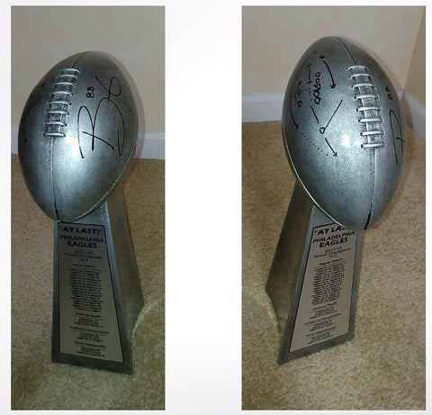 Trey Burton Autographed Replica Lombardi Trophy with Philly Special Play Inscription