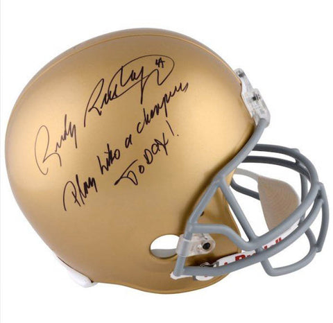 Rudy Ruettiger Autographed Notre Dame Full Size Helmet