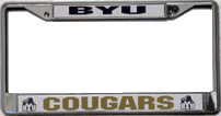 Brigham Young Cougars License Plate Frame Chrome