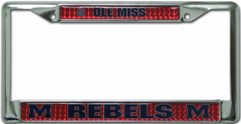 Mississippi (Ole Miss) Rebels License Plate Frame Chrome Deluxe