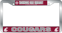Washington State Cougars License Plate Frame Chrome Deluxe