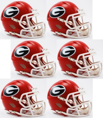 Georgia Bulldogs NCAA Mini Speed Football Helmet 6 count
