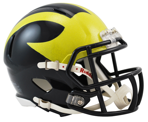 Michigan Wolverines NCAA Mini Speed Football Helmet <B>PAINTED SHELL</B>