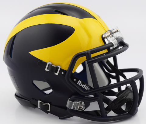 Michigan Wolverines NCAA Mini Speed Football Helmet <B>2016 Low Gloss Blue</B>