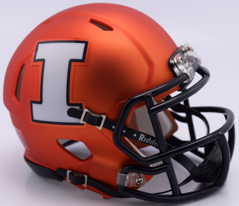 Illinois Fighting Illini NCAA Mini Speed Football Helmet <B>NEW 2017 Orange Pearl</B>