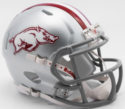 Arkansas Razorbacks NCAA Mini Speed Football Helmet <B>NEW 2017 Silver w/gray mask</B>