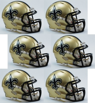 New Orleans Saints NFL Mini Speed Football Helmet 6 count