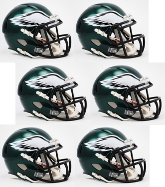 Philadelphia Eagles NFL Mini Speed Football Helmet 6 count
