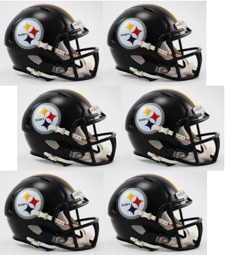 Pittsburgh Steelers NFL Mini Speed Football Helmet 6 count