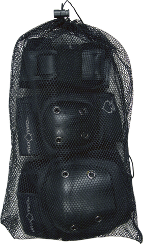 PROTEC STREET GEAR 3/PK BAG Y-BLK knee/elbow/wrist