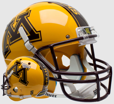 Minnesota Golden Gophers Full XP Replica Football Helmet Schutt  <B>Gold</B>
