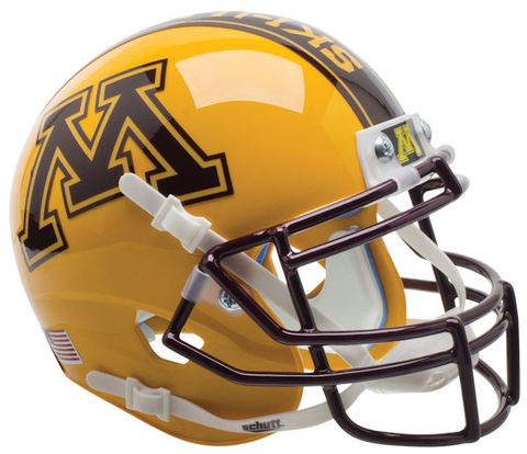 Minnesota Golden Gophers Mini XP Authentic Helmet Schutt <B>Gold</B>