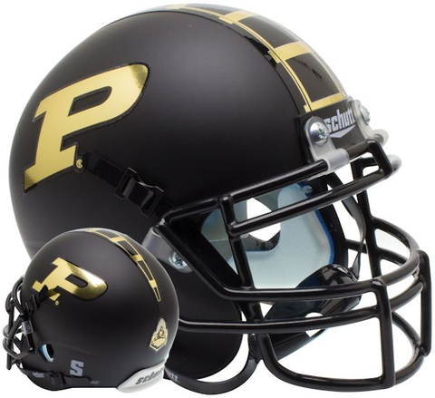 Purdue Boilermakers Mini XP Authentic Helmet Schutt <B>Matte Black</B>