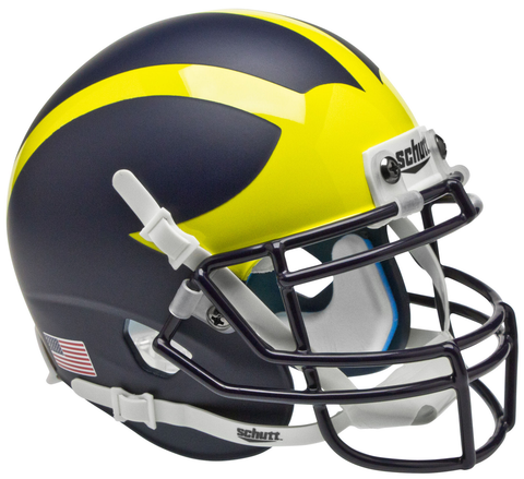 Michigan Wolverines Mini XP Authentic Helmet Schutt <B>Matte Blue</B>