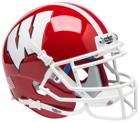 Wisconsin Badgers Mini XP Authentic Helmet Schutt <B>Scarlet</B>