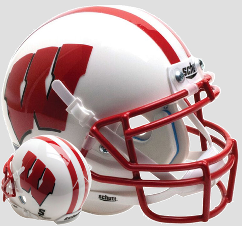 Wisconsin Badgers Mini XP Authentic Helmet Schutt <B>White</B>