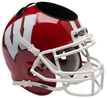 Wisconsin Badgers Miniature Football Helmet Desk Caddy <B>Scarlet</B>