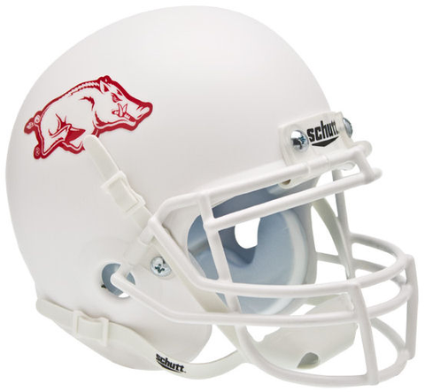 Arkansas Razorbacks Mini XP Authentic Helmet Schutt <B>Matte White</B>