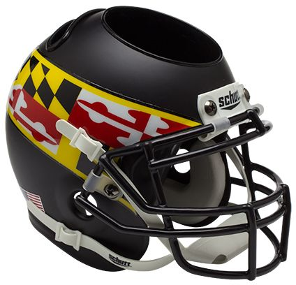 Maryland Terrapins Miniature Football Helmet Desk Caddy <B>Matte Black Wing</B>