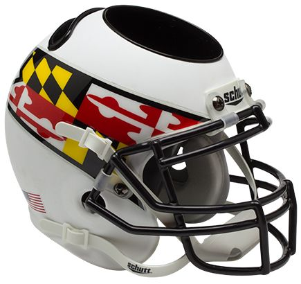 Maryland Terrapins Miniature Football Helmet Desk Caddy <B>Matte White Wing</B>