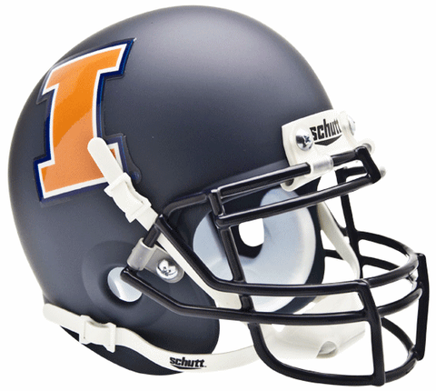 Illinois Fighting Illini Mini XP Authentic Helmet Schutt <B>Matte Navy</B>