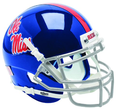 Mississippi (Ole Miss) Rebels Mini XP Authentic Helmet Schutt <B>Blue with Chrome Decal</B>