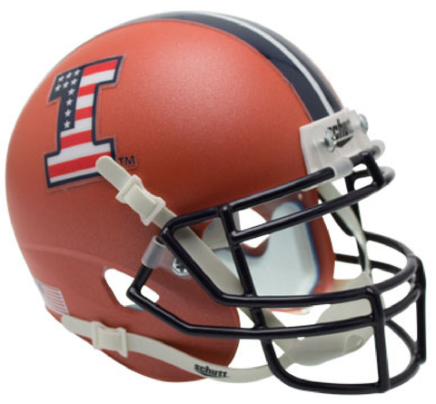 Illinois Fighting Illini Mini XP Authentic Helmet Schutt <B>Satin Orange Flag Decal</B>