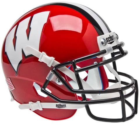Wisconsin Badgers Mini XP Authentic Helmet Schutt <B>Red Black Mask</B>