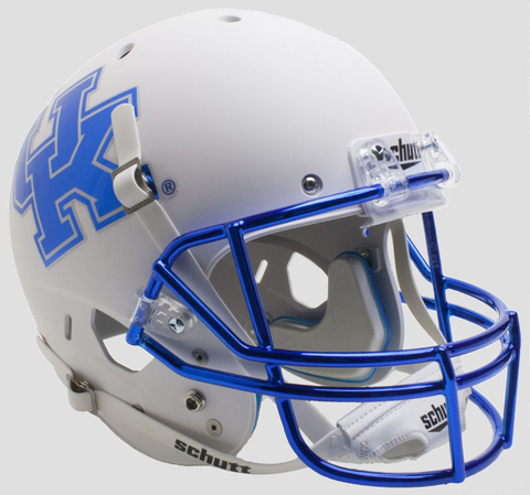 Kentucky Wildcats Full XP Replica Football Helmet Schutt Matte White Chrome Mask