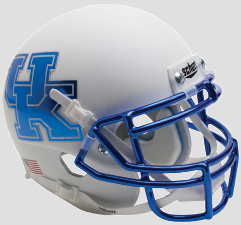 Kentucky Wildcats Mini XP Authentic Helmet Schutt <B>Matte White Chrome Royal Mask</B>