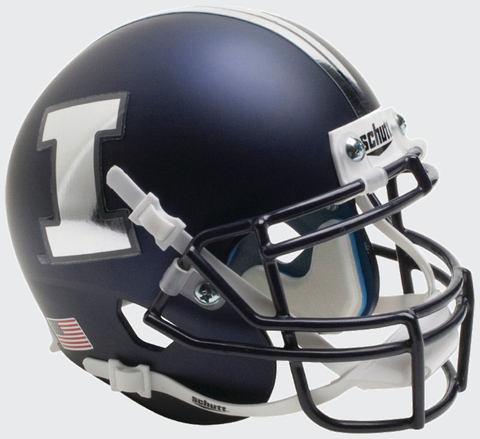 Illinois Fighting Illini Mini XP Authentic Helmet Schutt <B>Matte Navy Chrome Decal</B>
