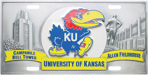 Kansas Jayhawks License Plate 3D