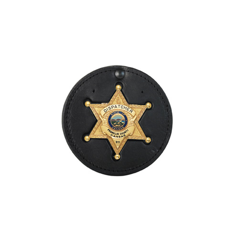 "3.75"" CIRCLE RECESSED BADGE HOLDER WITH CLIP"