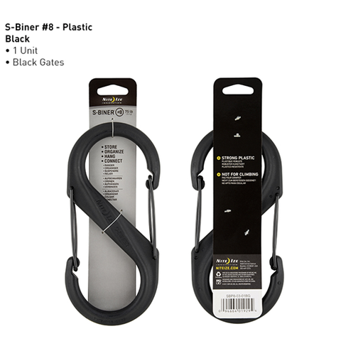 S-Biner® Plastic Double Gated Carabiner #8 - Black-Black Gates
