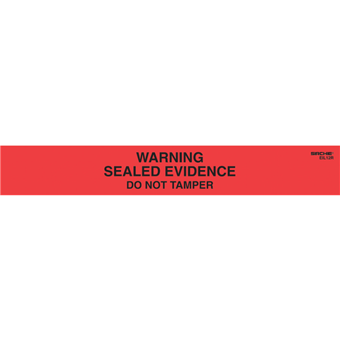 "Sirchie - Warning! Sealed Evidence Seals, Red w- Black printing 1"" x 7""  100-roll"