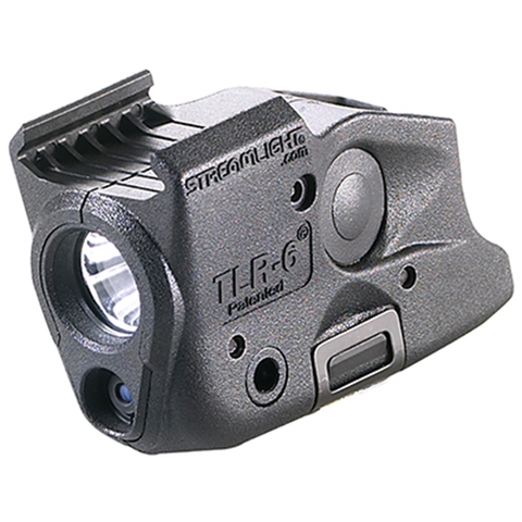 TLR-6 Rail (GLOCK®) with white LED and red laser. Includes two CR 1-3N lithium batteries