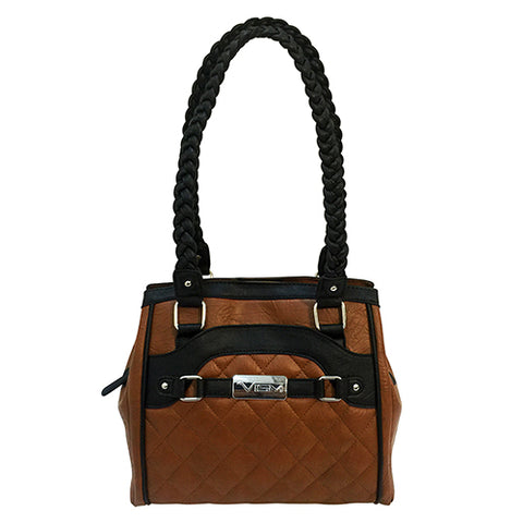 Concealed Carry Braided Tote- Brn W/ Blk