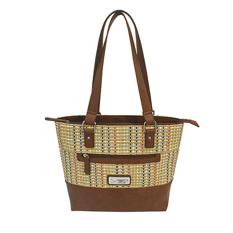 VISM Concealed Carry Woven Tote- Brown